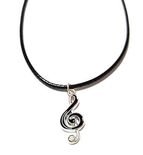 Dreamlife Cadena con colgante de clave de sol, color plata/negro.