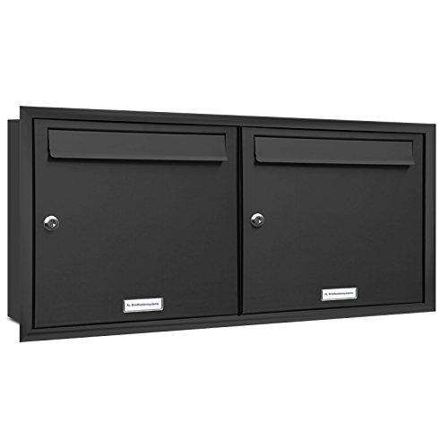 AL Briefkastensysteme, 2er Unterputzbriefkasten in Anthrazit Grau RAL 7016, Briefkastenanlage 2 Fach, Doppel-Briefkasten, Postkasten modern