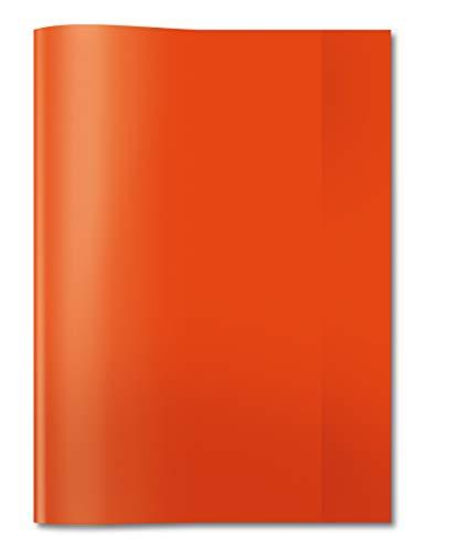 HERMA 7492 Heftumschlag DIN A4 transparent, durchsichtig, aus strapazierfähiger und abwischbarer Polypropylen-Folie, 1 Heftschoner für Schulhefte, rot