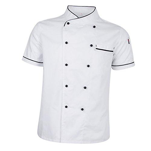 IPOTCH Uniforme Da Cuoco Estiva A Maniche Corte Cappotto Da Giacca Da Chef Hotel Moda Semplice Per Uomo Donna - bianca, M