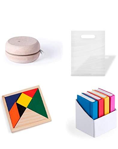 Divertido y original lote de regalos para cumpleaños infantiles 15 yoyos de madera + 15 puzzles ingenio + 15 set de gomas de borrar en forma de libro