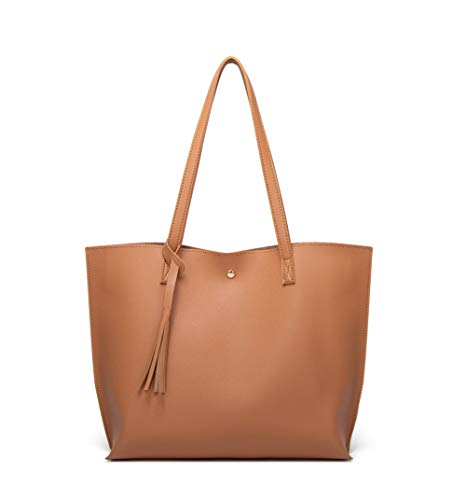 Women's Soft Faux Leather Tote Shoulder Bag from Dreubea, Big Capacity Tassel Handbag Windsor Tan New