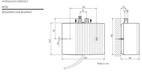 AEG hydraulischer Klein-Durchlauferhitzer MTD 440, 4,4 kW, drucklos und druckfest für Handwaschbecken, 222121 - 6
