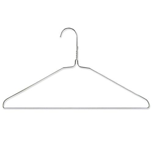 HANGERWORLD 50 Silver 16inch Metal Wire 13 Gauge Clothes Coat Garment Pants Bar Hangers