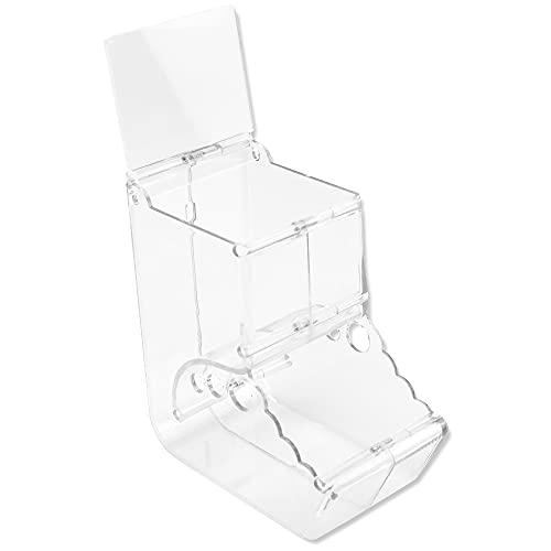 小動物用 ハムスター 鳥類 自動給餌器 餌入れ 蓋付き 透明 アクリル素材 お手入れ簡単 ゲージ固定 (Bタイプ)