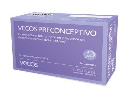 Vecos Preconceptivo 30 cápsulas (Hierro, Zinc, Ácido Fólico y Yodo). Contribuye al embarazo y a un adecuado desarrollo del feto. CAPSULAS VEGETALES