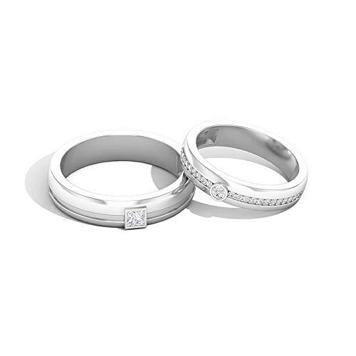 IGI Certified Diamond Pareja de Alianza, Anillo de media eternidad para His Her, HI-SI Color Clarity, Anillo de compromiso de aniversario, 14K Oro blanco, Size:EU 68