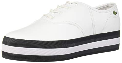 Lacoste Women's Rene Shoe, White/Black, 5 Medium US
