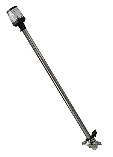 Osculati Laternenmast aus Edelstahl mit Rundumlaterne 360° weiß - 600mm