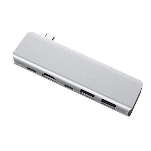 Hub Usb 3.0 de 2 Puertos De Datos Ultrafino de Aluminio Data 5 En 1 Tipo C Adaptador Usb C Con 4K Hdmi,Pd Carga RáPida, Sd/Tf Compatible para Apple MacBook Air, Mac Pro/Mini, Otros Usb C Dispositivos