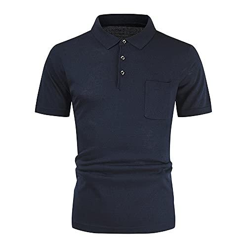Camiseta Hombre Básica Casual De Negocios Clásica Simplicidad Moda Kent Collar Botón Tapeta Hombres Camisa Deportiva Deporte Estiramiento Hombres Manga Corta J-Dark Grey L