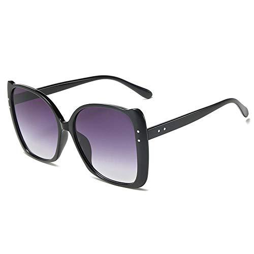 YANPAN Damen Sonnenbrille Mit Leopardenmuster Modetrend Big Frame Sonnenbrille Street Selfie Sonnenbrille Schwarzer Rahmen Farbverlauf Grau