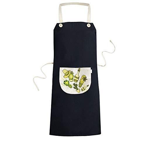 Sombrero Mexico woestijn Cactus Mexicaanse keuken zwarte Bib schorten met zak voor vrouwen mannen chef-kok geschenken