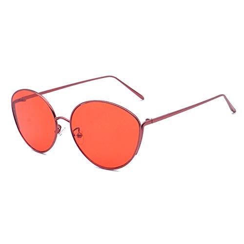Faus Koco Gafas de sol de metal ovaladas, marco grande, unisex, protección UV400 (color: rojo)