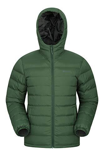 Mountain Warehouse Seasons Rivestimento di Mens - Cappotto Riempito di Mens, Peso Leggero, Cappotto Resistente all'Acqua della Pioggia, Invernale Verde Scuro S