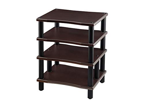 Monolith 4 Tier Audio Stand XL - Espresso, Open Air Design, Each Shelf Supports up to 75 Lbs, Perfect Way to Organize AV Components
