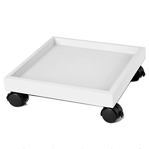 HEWXWX Usine Caddy, Support Plante Pot Carré pour Plantes en sur Roues Pot Robuste roulettes Dolly Trolley Saucer Tray Pallet with Universal Wheels for Indoor Outdoor Home Garden,White-36cm