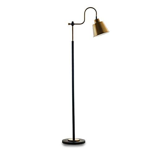 Vloerlamp Retro Koper Zwanenhals Vissersvloer Lamp Verstelbare Zwarte Smeedijzeren Vloerlamp voor Slaapkamer Woonkamer Studeerkamer, Φ26cm H153cm E27