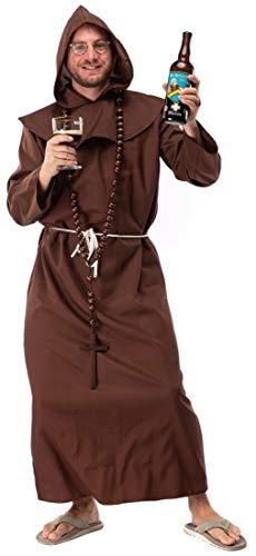 Original Replicas Heiliger Bruder Römisch-Katholische Kirche Kloster Mönch Kostüm mit Kappe und Flechtkordel für Männer M - XS bis 3XL