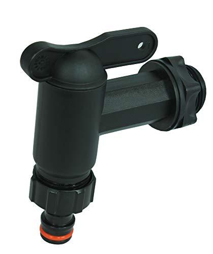 GASMIS - Grifo para barril de lluvia, plástico de repuesto, grifo para depósito de agua de lluvia, barril de lluvia, con junta, contratuerca y conexión de grifo, 3/4' 26,44 mm, negro, 2 unidades