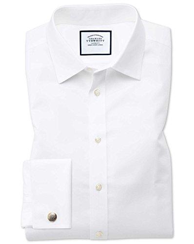 Charles Tyrwhitt Bügelfreies Twill Hemd mit Kent-Kragen - Weiß Knopfmanschette