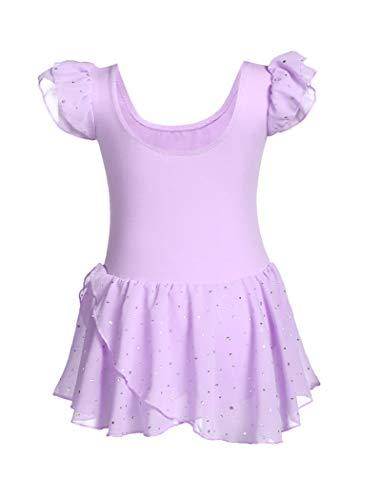 MAXMODA Traje de ballet de las niñas ropa de ballet con puntos brillantes hermosa cómodo traje de ballet vestido de baile niños vestido de ballet leotardo de 3-11 años 140