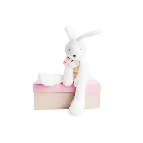 Hoogwaardig pluche dier haas met hartvormige hanger en lederen band extreem zacht pluche knuffelig! 30 cm wit, roze
