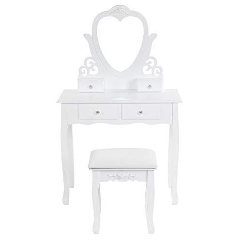 Espejo de tocador, mesa cosmética, mueble de maquillaje con taburete con espejo, puede girar 45 grados, espejo para maquillaje, mesa de maquillaje con 4 cajones, 80 x 40 x 72 x 57 cm, blanco
