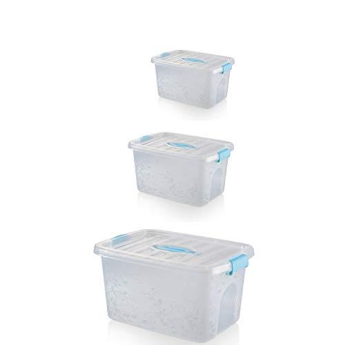 SZQ-Opbergdozen Driedelig pak Storage Box, Kleding Quilt Schoenen Storage Box Shoe Store Warehouse Grote, middelgrote en kleine Vier kleuren Opbergmand (Color : Blue)