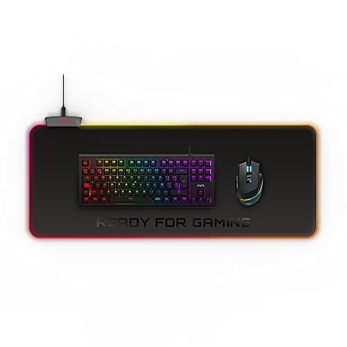 Energy Sistem ES Gaming Mouse Pad ESG P5 RGB Alfombrilla Tamaño XL (Luces RGB, 5 modos de iluminación, Puerto USB, Tela resistente al agua, Base antidelizante) - Negro