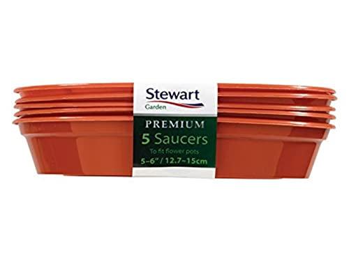 Stewart, sottovaso da 7,6-10 cm, Colore: Nero, Confezione da 5 4840005, plastica, Orange, 13-15 cm
