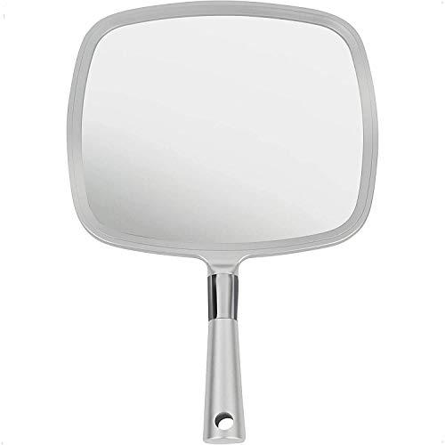 Mirrorvana Espejo de mano grande y cómodo con asa, estilo salón profesional en plata (paquete de 1)