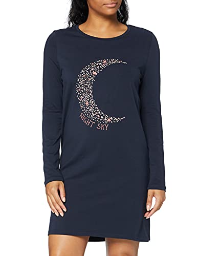 Marca Amazon - IRIS & LILLY Camisón de Manga Larga de Algodón Mujer, Azul (Night Sky), S, Label: S
