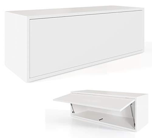 Platan Room Hängeschrank Schrank 100 x 35 x 35 cm Küchen-Klapphängeschrank für Bad, Flur, Wohnzimmer Wandschrank (Weiß)
