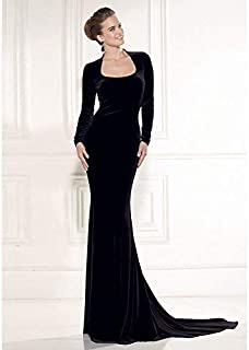 Elegant Backless And Long Sleeve Evening Dress For Ladies Xl Size Oyl-1