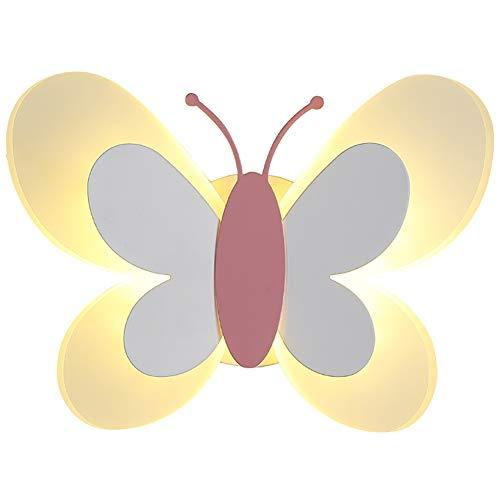 Cartoon Mariposa Lámpara De Pared,Led Haz Ajustable Acrílico Sombra Aplique De Pared Metal Base Habitación Para Niños Decoración Iluminación De Pared Chico Chica Linda Iluminación -Rosa 17cm×24cm