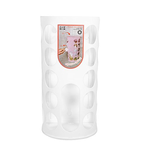 Plastpåsehållare Bärväska Förvaring för plastpåsar med väggmonterad shopping Plastbärväska Förvaring Behållare Hållare för hem och kök(vit)