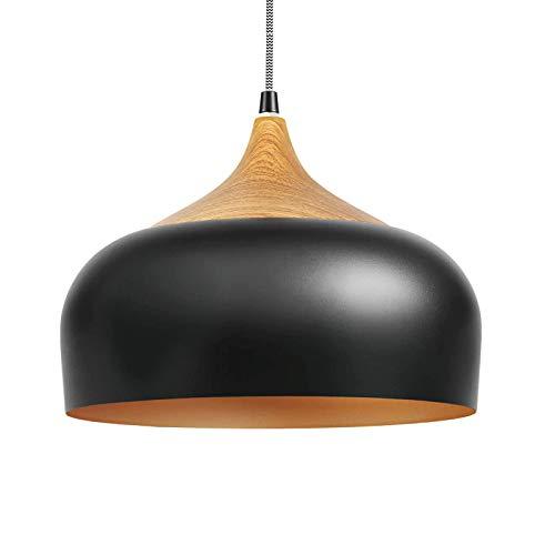 Combuh Lámpara colgante de 30,5 cm, color negro, dorado, redondo, de madera, lámpara colgante E27, lámpara de techo, lámpara de techo industrial ajustable en altura, para comedor, dormitorio, cocina
