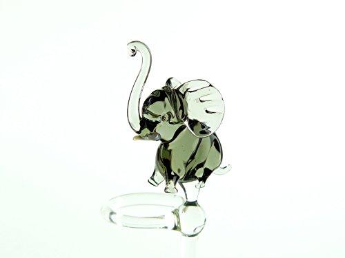 Orchideenstab aus Glas mit Elefant grau Blumenstab Rankhilfe Lauscha Handarbeit