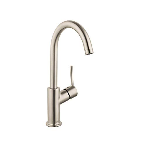 hansgrohe Talis S Modern Timeless Easy Clean 1-Handle 12-inch Tall Bathroom Sink Faucet in Brushed Nickel, 32082821