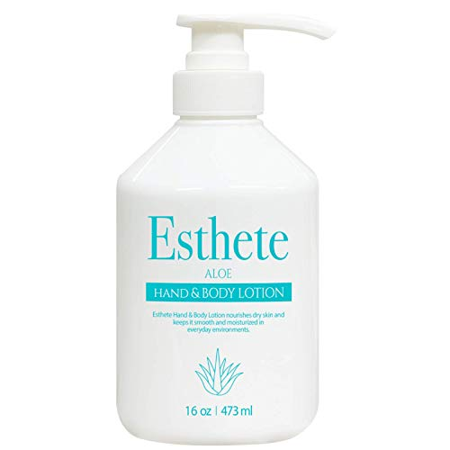 Esthete Shea Butter Hand and Body Lotion - Professional Grade Lightweight Korean Skin Care Lotion for Dry Skin, Hyaluronic Acid Moisturizer (ALOE Single Bottle - 16 oz. Total)