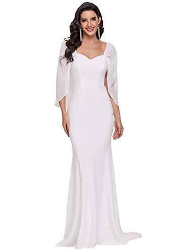 Ever-Pretty Vestido de Fiesta Largo para Mujer Sirena sin Tirantes Escote Corazón Gasa Elegant Blanco 40