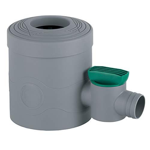 3P Technik Filtersysteme Regensammler mit Absperrhahn grau für Fallrohre Ø 68-100 mm und Viereckfallrohre mit 60 x 60 mm zum Befüllen von Regentonnen, Regenfässer und Regenwassertonnen