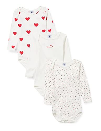 Petit Bateau A00BC00 Underwear Lot de 3 Bodies pour Bébé filles Naissance - Multicolor - 6 mois