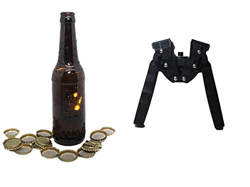 Nuevo Set Completo de Accesorios para la Fabricación de Cerveza Artesana (16 Botellines 33cl, 100 chapas, Chapadora Negra Doble Palanca)