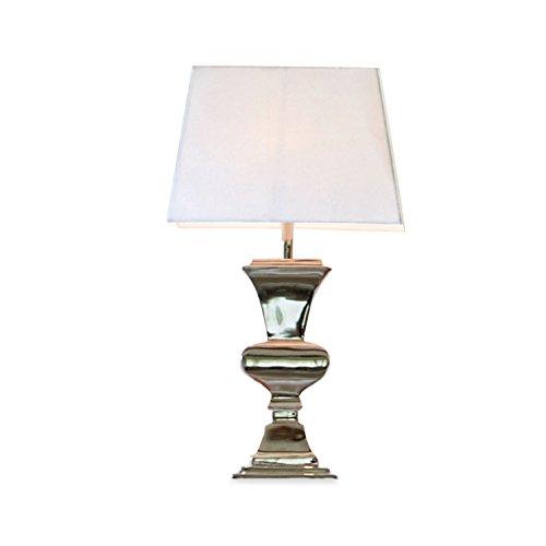 Loberon Tischlampe Feyona, Baumwolle, Aluminium, H/B/T 63/35 / 25,5 cm, silber/creme, E27, max. 40 Watt, A++ bis E