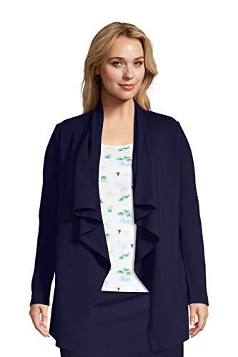 Lands' End Womens Starfish Long Sleeve Drape Front Cardigan True Navy Plus 2x