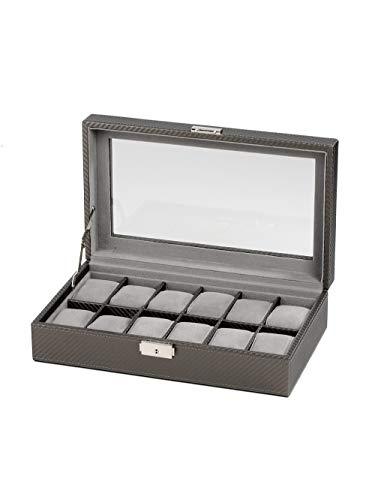 Rothenschild Uhrenbox RS-1098-12CFPEW für 12 Uhren grau