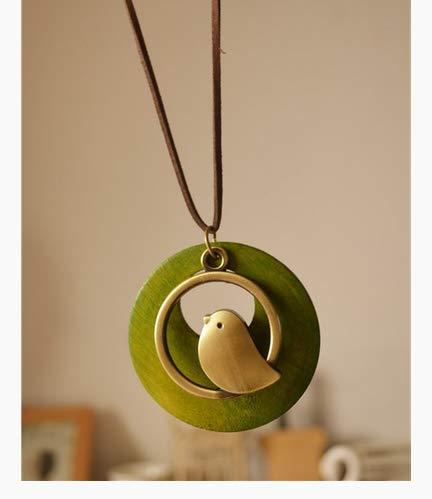 Vintage katoen en linnen accessoires nationale wind houten vogel hanger lange ketting trui ketting