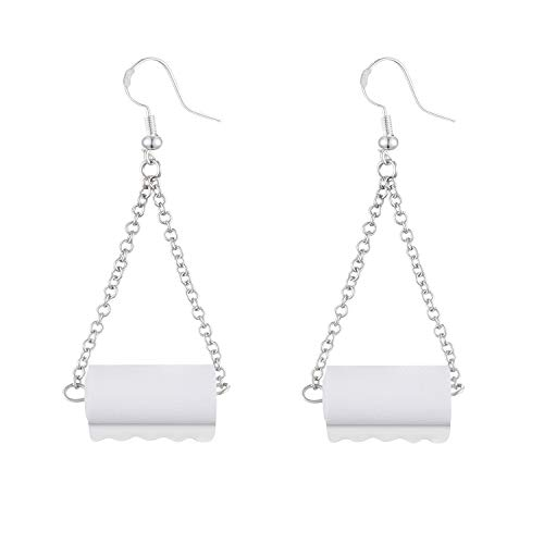 Toilet Paper Earrings Sterling Silver, DORAFO Adorable Women Girls Funny Drop and Dangle Statement Hypoallergenic Earrings for Daily Wearing